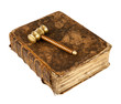 antique law book and gavel