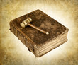 vintage gavel on book