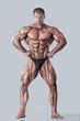 Постер, плакат: Anatomy of male muscular system anterior view full body