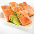 Salmon fillet cubes