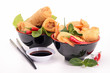 isolated bowl of spring roll