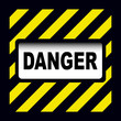 Danger sign over warning stripes background
