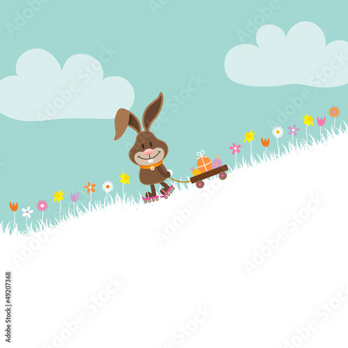 Bunny Skating Downhill Handcart Easter Eggs Retro