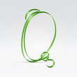 Thin green satin ribbon typeface