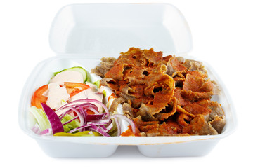 Kebab with salad take-out food in plastic box