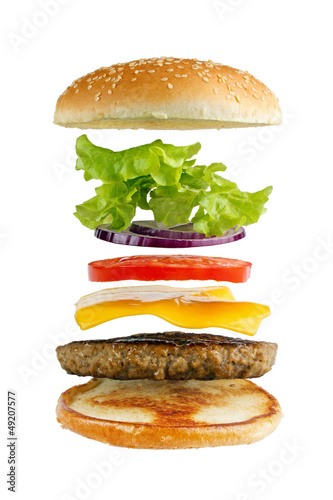 Classic hamburger ingredients, isolated on white