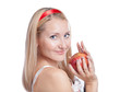young blond woman and apple
