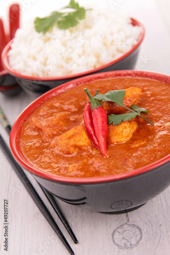 chicken cooked with coconut and curry