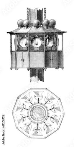 Leinwanddruck Bild Lighthouse Lightings - Éclairage de Phare - 19th century