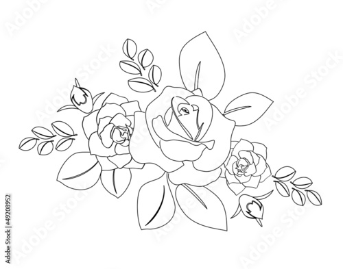 bouquet of roses - vector silhouette