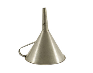 vintage metallic funnel hopper tool isolated white