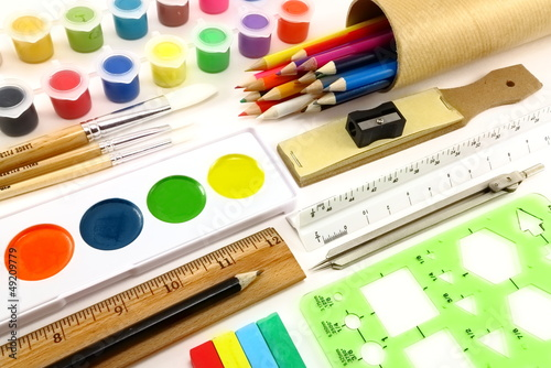 Vividly colorful art supplies and drafting implements