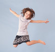 cheerful girl jumping
