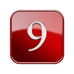 Number nine red glossy, isolated on white background