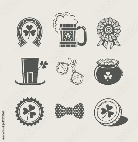 patrick's day set of icons vector illustration