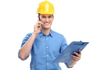 Engineer wearing hardhat