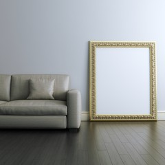 Gallery interior Design With Golden Blank Carved Frame