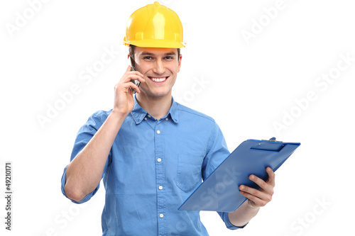 Engineer wearing hardhat
