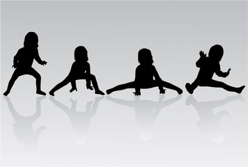 Gymnastics - silhouette of a little girl