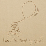cartoon drawing of a man happy riding bicycle with a big balloon