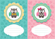 Baby cards with cute owlets