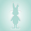 happy easter brown cartoon bunny blue background