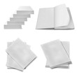 collection of various blank white paper on white background.