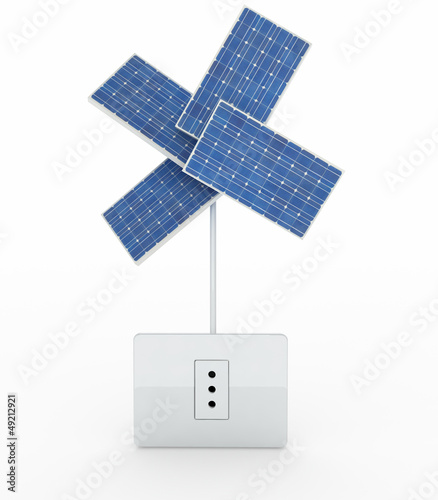 four solar panels like a flower over energy plug