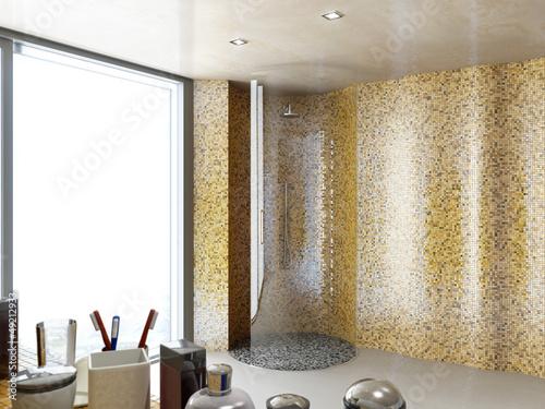 """Dusche Mosaik Rund : Rund Glas Dusche im Mosaik Badezimmer"""" Stockfotos und lizenzfreie"""
