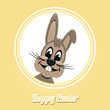 happy easter brown bunny on yellow background