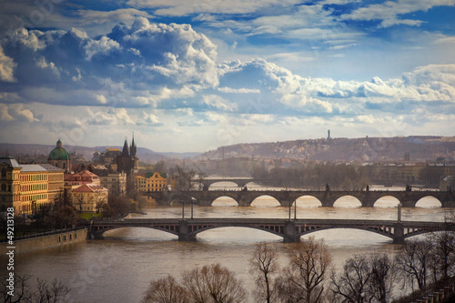 view on bridges in Prague, Czech Republic