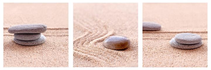 Triptyque galets et sable zen