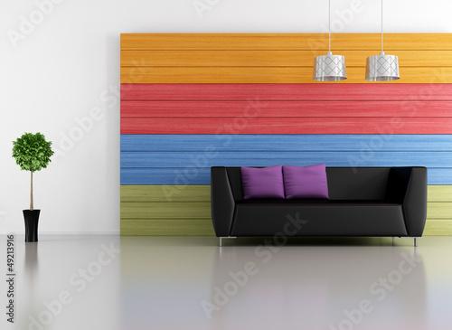 Minimalist colorful lounge
