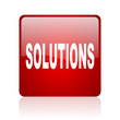 solutions red square glossy web icon on white background