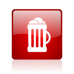 beer red square glossy web icon on white background