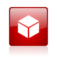 box red square glossy web icon on white background