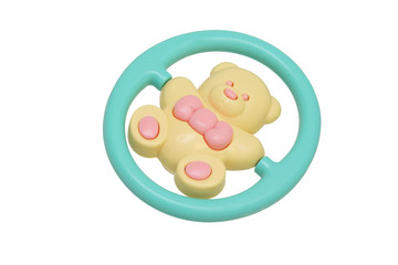 Children's toy rattle. Yellow bear.