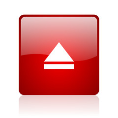 eject red square glossy web icon on white background