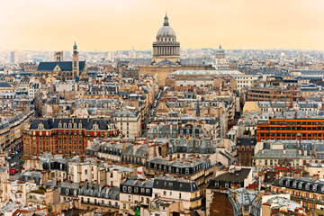 View of Paris with the Pantheon at sunset, France.