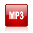 mp3 red square glossy web icon on white background