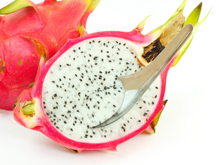Vietnamese dragon fruit on a white plate