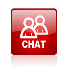 chat red square glossy web icon on white background