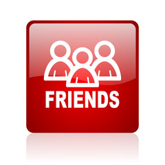 friends red square glossy web icon on white background