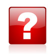 question mark red square glossy web icon on white background