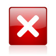 cancel red square glossy web icon on white background