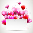 Modern background with pink flying hearts nad balloons