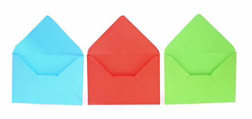 Assorted open envelopes isolated on white background