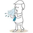 Geschäftsmann, Niesen, Taschentuch, schneuzen