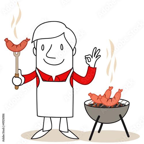 Figur, Grillfest, Grillmeister, Grillen, Wurst, Würstchen