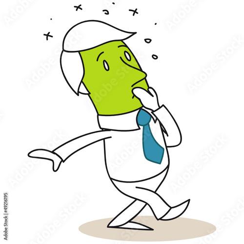 Geschäftsmann, Übelkeit, Erbrechen, grün